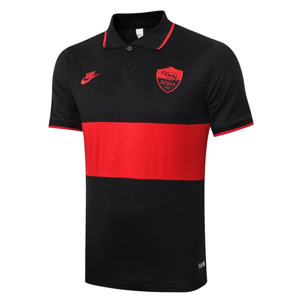 Polo Foot Pas Cher AS Roma 2019/20 Noir Rouge